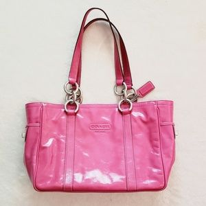 Coach East West Gallery Tote Pink Patent Leather